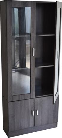 Βιτρίνα Ξύλινη με Γυάλινη Πόρτα 72x26x170 Γκρι-Ανθρακί (765812) spiti epipla diakosmhsh mikroepipla