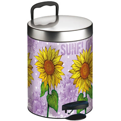 Meliconi 140055 Μεταλλικός Κάδος Απορριμμάτων 5lt Sun Flower spiti eidh spitioy kadoi aporrimmaton