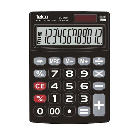 Αριθμομηχανή Telco CD-259 12Dg Dual Power
