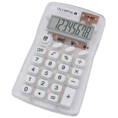 Αριθμομηχανή Τσέπης Olympia LCD-825T, Λευκή Διάφανη