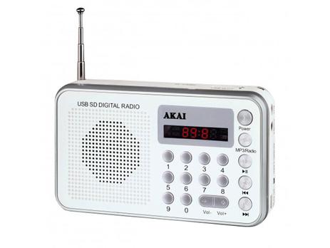 Φορητό Ράδιο Akai DR002A-521 USB, Λευκό hlektrikes syskeyes texnologia eikona hxos radiocdhi fi