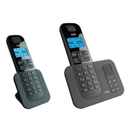 Ασύρματο Τηλέφωνο με Τηλεφωνητή AEG D505 Τwin, Μαύρο hlektrikes syskeyes texnologia stauerh thlefonia thlefona