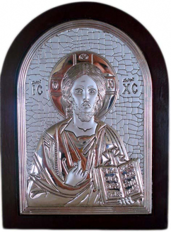 Ξύλινη Επάργυρη Εικόνα Χριστός, 14cmx10cm 105Χ5281