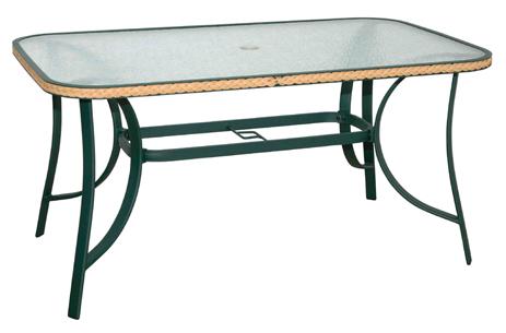 Velco Τραπέζι με Κοτσίδα Αλουμινίου Wicker 155x90x71cm, Χρώμα Πράσινο (185-9076)