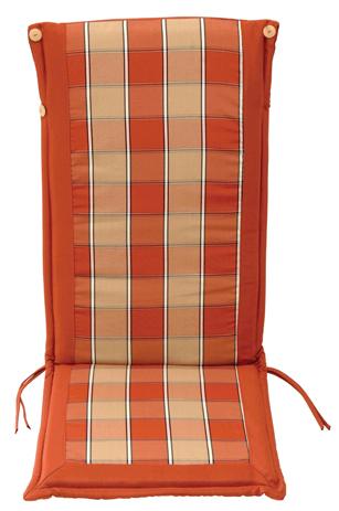 Velco Μαξιλάρι για Καρέκλα με Ψηλή Πλάτη 2 Όψεων, Χρώμα Κεραμιδι Καρώ (35-10690)