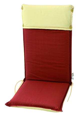 Velco Μαξιλάρι για Καρέκλα με Ψηλή Πλάτη 2 Όψεων, Χρώμα Μπεζ Κόκκινο (35-12779)