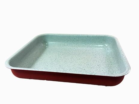 Ταψί Πέτρινο(Marble) Κεραμικό Ορθογώνιο Νο 35 Κόκκινο Home&Style 509535