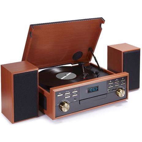 Πικάπ-Ραδιόκασετόφωνο/CD/MP3 Ρετρό BigBen TD113SPS Wooden hlektrikes syskeyes texnologia eikona hxos radiocdhi fi