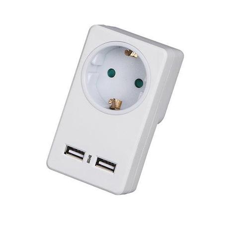 Πριζα & 2 Θυρες USB 2100mA Telco KF-GZB-01/01U Λευκή