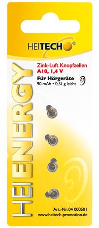 Μπαταρίες για Ακουστικά Βαρηκοίας Zinkair A10 90mAh Heitech 04000501 4τμχ