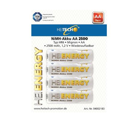 Επαναφορτιζόμενες Μπαταρίες 2500mAh HR6/Mignon/AA Heitech 04002183 4τμχ