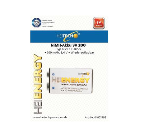 Επαναφορτιζόμενη Μπαταρια 200mAh 6F22/9V/E-Block Heitech 04002186 1τμχ bibliopoleio perifereiaka grafeioy mpataries
