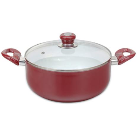Κατσαρόλα με Γυάλινο Καπάκι 4.7lt Sapir SP-1318-H24C Κόκκινη