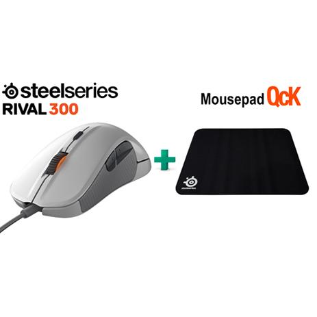 Steelseries Bundle Mouse Rival 300 White + Surface QCK gaming perifereiaka gaming pc pontikia