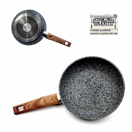 Τηγάνι Πέτρας Granite 26εκ. με Ξύλινη Λαβή 6mm Home&Style 050226-12