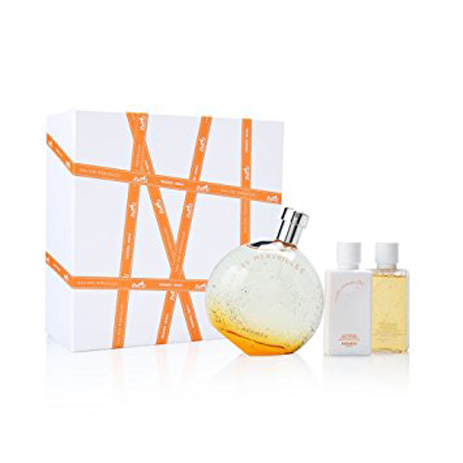 Hermes Eau Des Merveilles Eau de Toilette 100ml & Body Lotion 40ml & Shower Gel  fashion365 aromata set doron