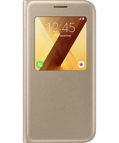 Θήκη Samsung Original S View Cover for Samsung Galaxy A5 A520 Gold (EF-CA520PFE) hlektrikes syskeyes texnologia kinhth thlefonia prostateytikes uhkes