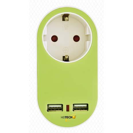 Πρίζα Σούκο με 2 USB Heitech 04002261 Πράσινη ergaleia kataskeyes hlektrologikos ejoplismos polypriza
