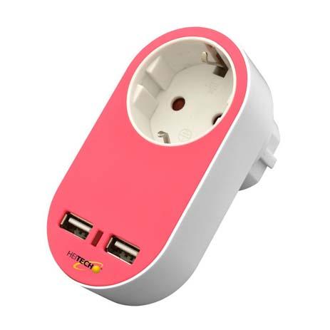 Πρίζα Σούκο με 2 USB Heitech 04002264 Ροζ