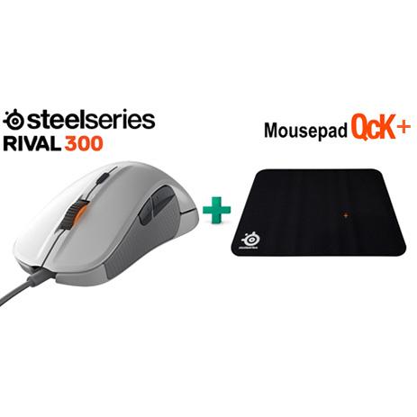 Steelseries Bundle Mouse Rival 300 White + Surface QCK + gaming perifereiaka gaming pc pontikia