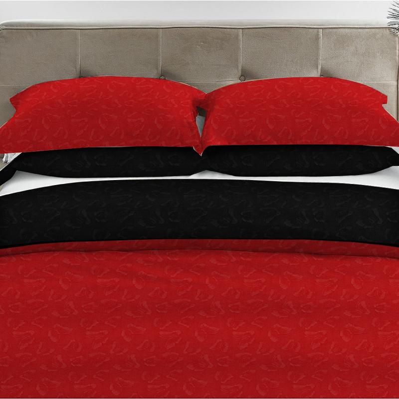 Σετ Σεντόνι-Μαξιλαροθήκη Microfiber Μονό 160x240 Bedes 01.148 Κόκκινο-Μαύρο