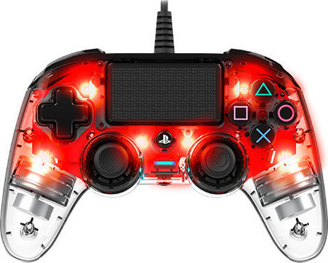 Nacon Wired Controller Crystal Red - PS4 Controller gaming perifereiaka gaming ps4 xeiristhria