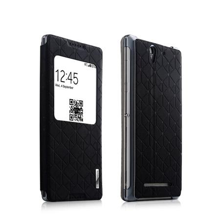 Θήκη Book Baseus για Sony Xperia C3 με Παράθυρο Μαύρη (LTSNC3BD01) hlektrikes syskeyes texnologia perifereiaka ypologiston tsantes uhkes