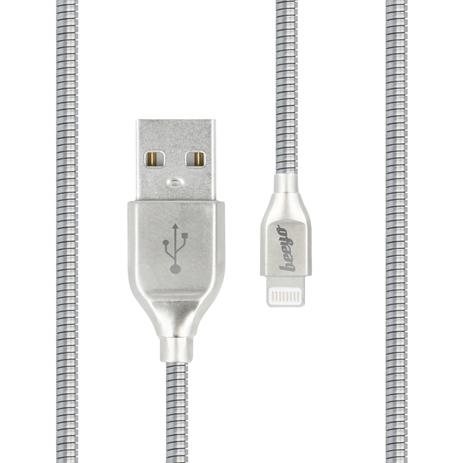 Cable USB Lightning Silver Zinc Beeyo (ΗΑΕ231759) hlektrikes syskeyes texnologia kinhth thlefonia ajesoyar