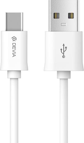 Cable USB Type C White Devia (ΗΑΕ231596) hlektrikes syskeyes texnologia kinhth thlefonia ajesoyar