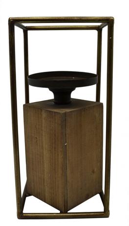 Κηροπήγειο με Ξύλινη Βάση Μεγάλο 12x12x25cm (767960) paixnidia hobby gadgets diakosmhtika