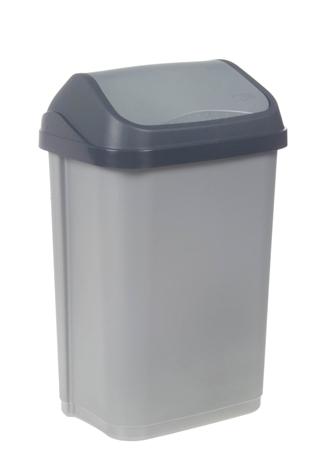 Κάδος Απορριμμάτων με Καπάκι Keeper Swantje Silver 25lt Νο 10307