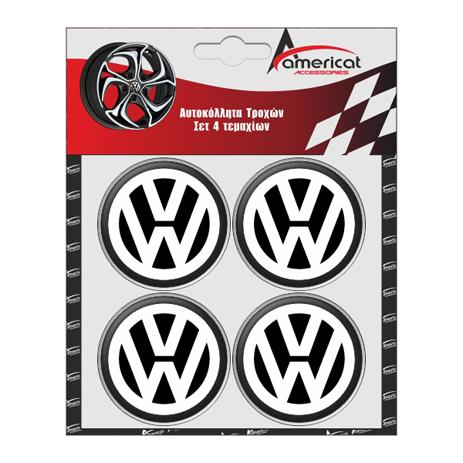 Αυτοκόλλητα Ζαντών VW 6cm Μαύρα Σμάλτου Americat ΑΥΤ.31001 4τμχ aytokinhto mhxanh troxoi diakosmhsh