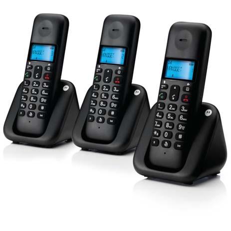 Τριπλο Ασύρματο Τηλέφωνο με Ανοιχτή Ακρόαση Motorola T303Β hlektrikes syskeyes texnologia stauerh thlefonia thlefona