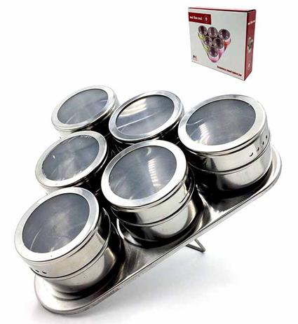 Βαζάκια Μπαχαρικών Μαγνητικά με Τρίγωνη Βάση & Διάφανο Καπάκι Inox Σετ 6τμχ Home&Style 735101-30