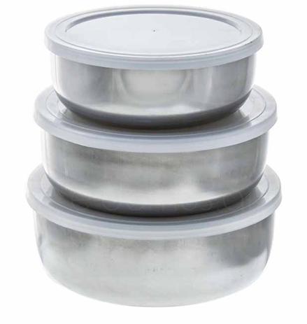 Τάπερ Inox Στρογγυλό Βαθύ με Πλαστικό Καπάκι Σετ 3τμχ Home&Style 401066-24