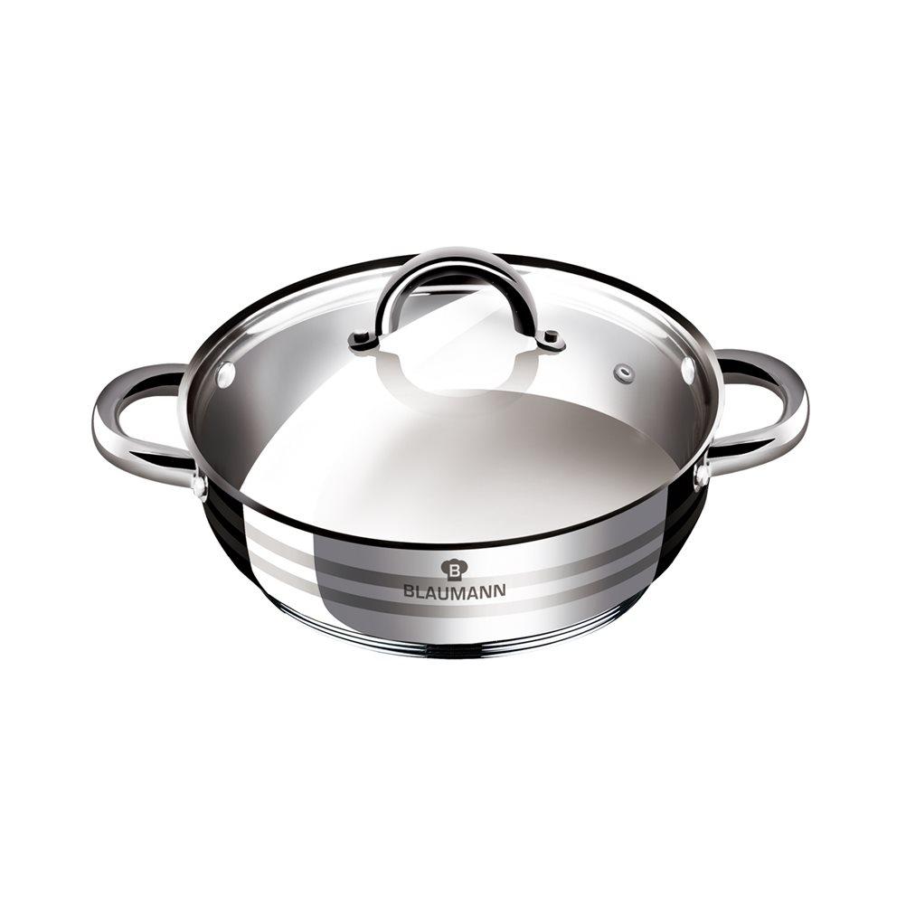 Ανοξείδωτη Κατσαρόλα Ρηχή 24cm με Καπάκι Γυάλινο Blaumann Gourmet BL-1003