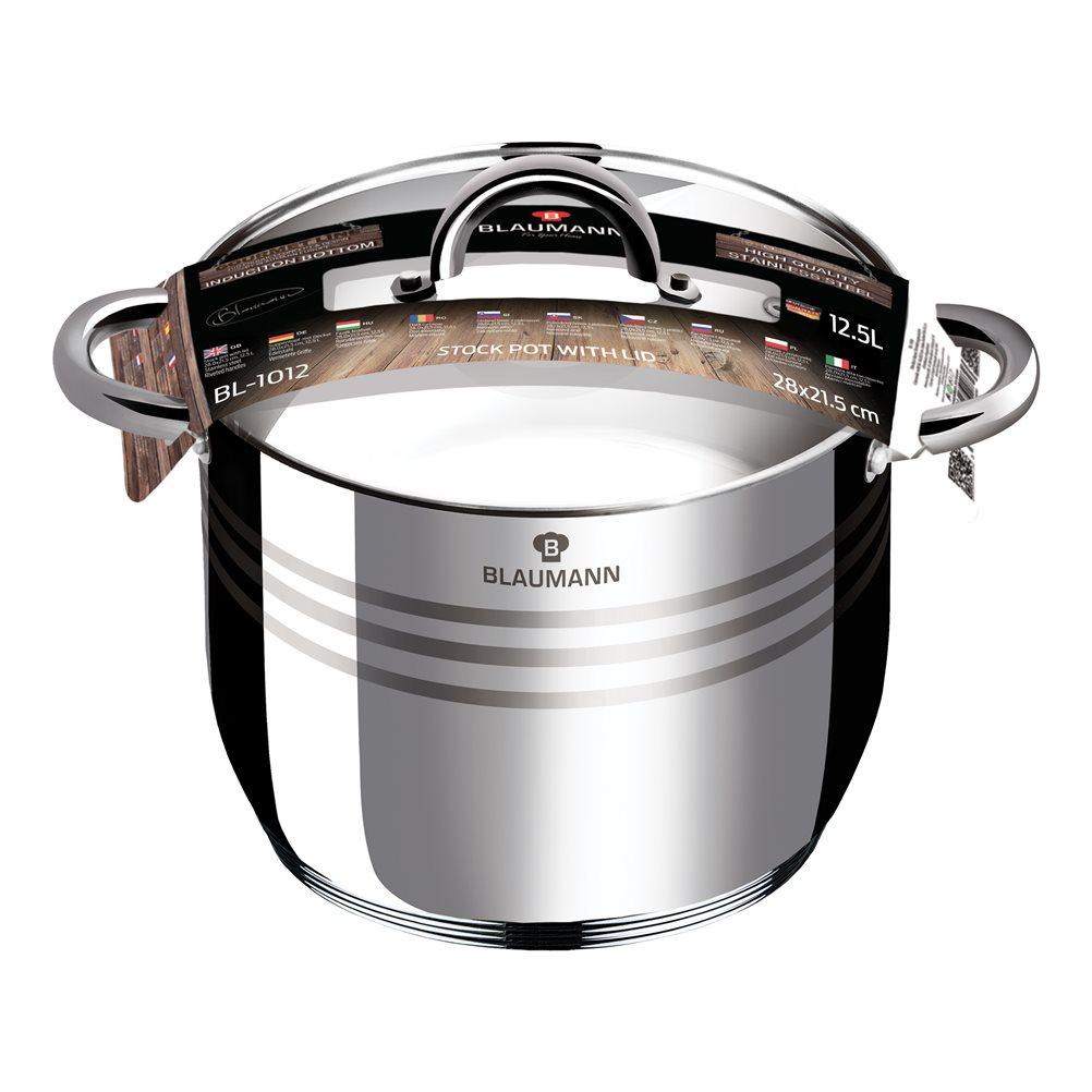 Ανοξείδωτη Χύτρα 28cm με Καπάκι Γυάλινο Blaumann Gourmet BL-1012