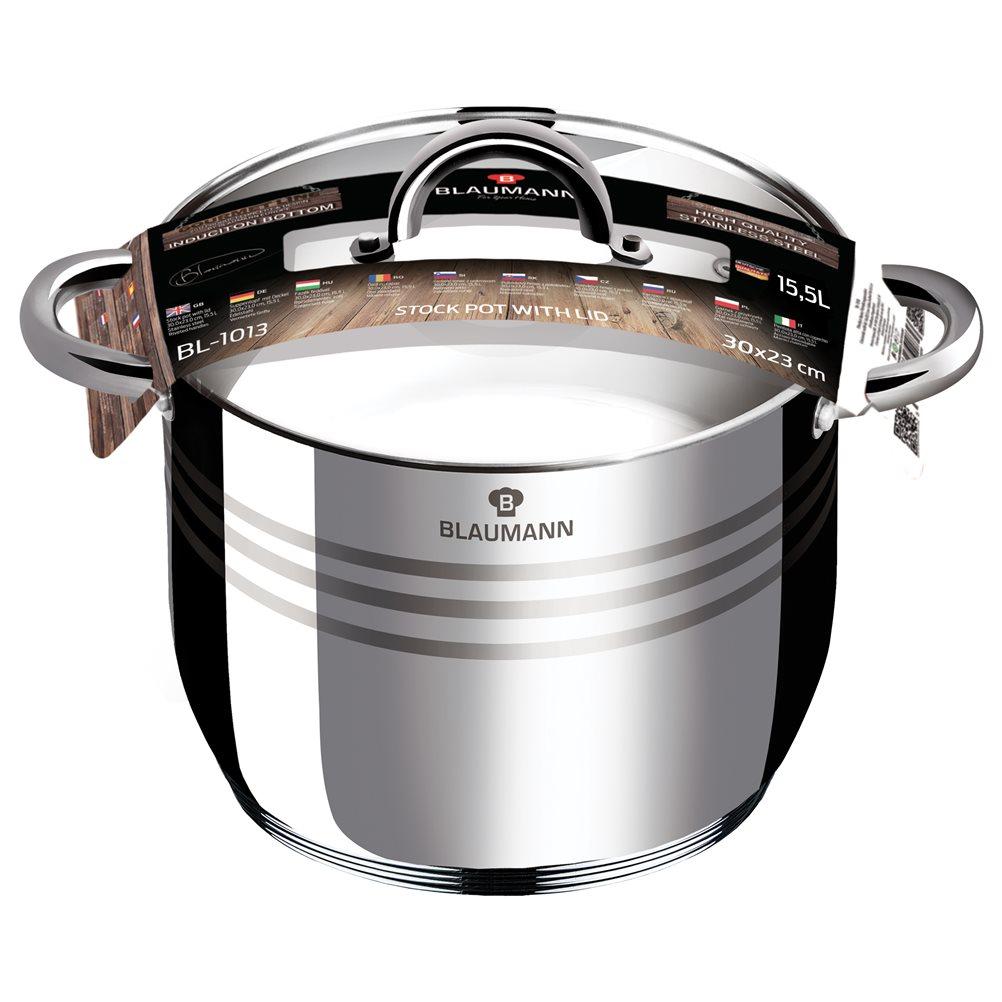 Ανοξείδωτη Χύτρα 30cm με Καπάκι Γυάλινο Blaumann Gourmet BL-1013