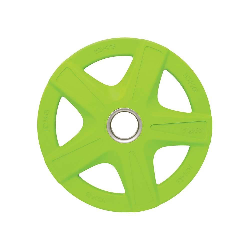 Δίσκος με Επένδυση Λάστιχου 50mm 10kg Amila 84573 Πράσινος paixnidia hobby organa gymnastikhs barh