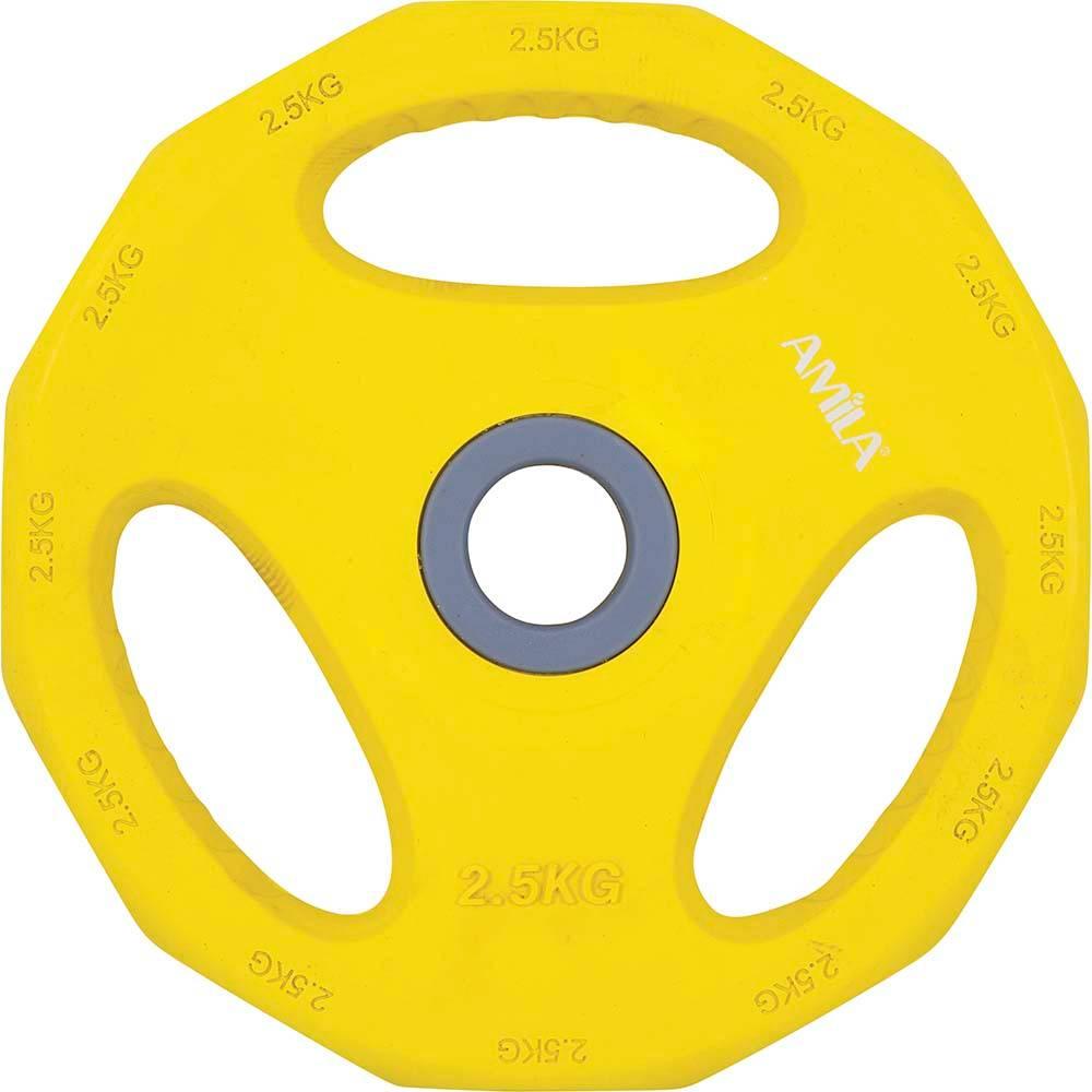 Δίσκος με Επένδυση Λάστιχου 2.5kg Amila 84516 Κίτρινος paixnidia hobby organa gymnastikhs barh