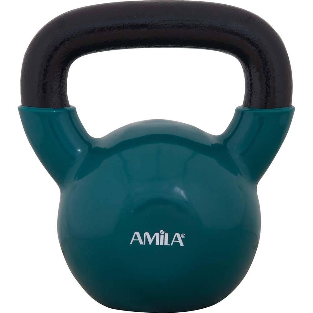 Kettlebell με Επένδυση Βινυλίου 12kg Amila 44506 Πράσινο paixnidia hobby organa gymnastikhs barh