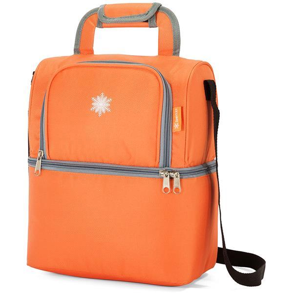 Ισοθερμική Τσάντα με 2 Χώρους Benzi BZ5313 Πορτοκαλί khpos outdoor camping epoxiaka camping cygeia tsantes