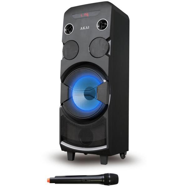 Φορητό Ηχείο Karaoke με Bluetooth, Led 80W Rms Akai ABTS-1002 hlektrikes syskeyes texnologia eikona hxos hxeia