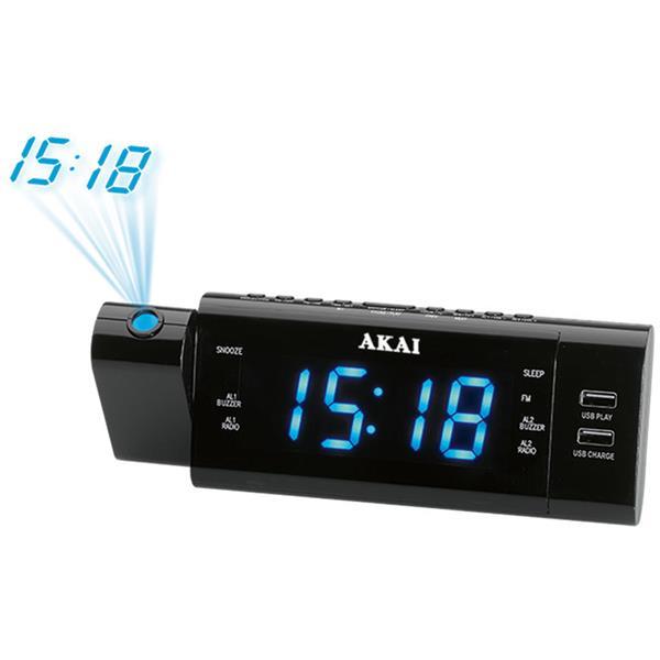 Ψηφιακό Ξυπνητήρι με Προτζέκτορα, Ραδιόφωνο, USB Akai ACR 3888 hlektrikes syskeyes texnologia eikona hxos radiocdhi fi