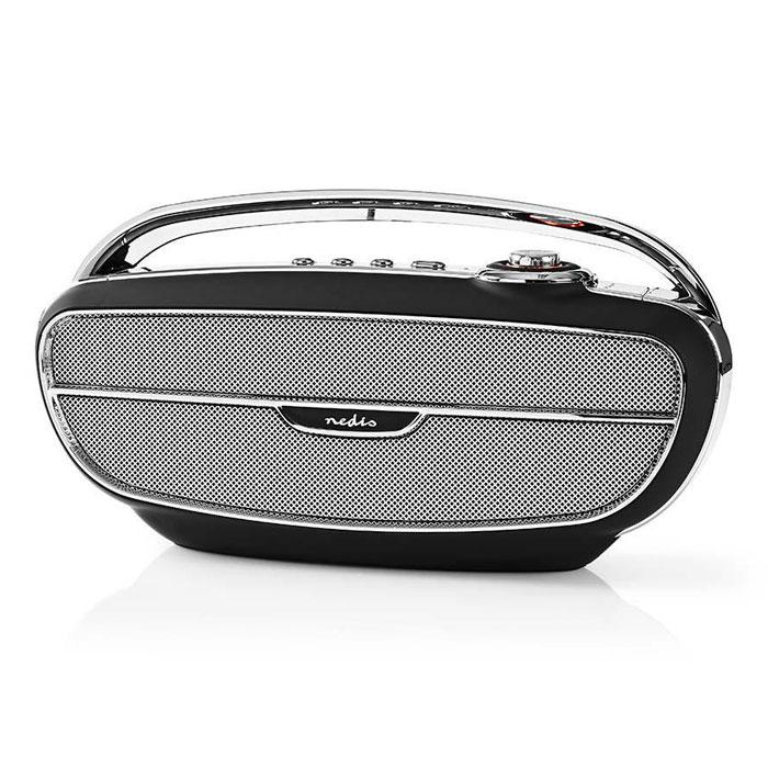 Φορητό Ραδιόφωνο FM & Bluetooth Ηχείο Nedis RDFM5300BK Retro Design Μαύρο/Ασημί hlektrikes syskeyes texnologia eikona hxos radiocdhi fi