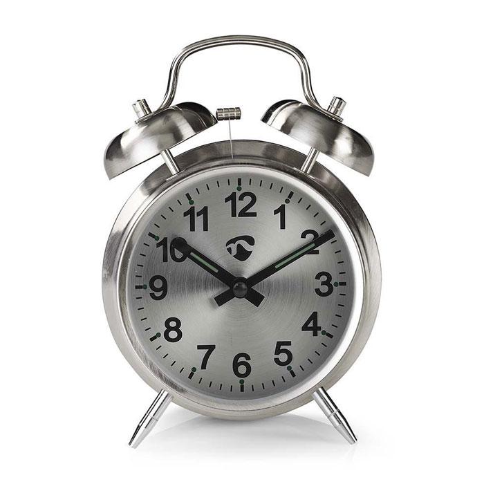 Επιτραπέζιο Αναλογικό Ρολόι-Ξυπνητήρι Retro Nedis CLDK007MT Silver hlektrikes syskeyes texnologia eikona hxos radiocdhi fi