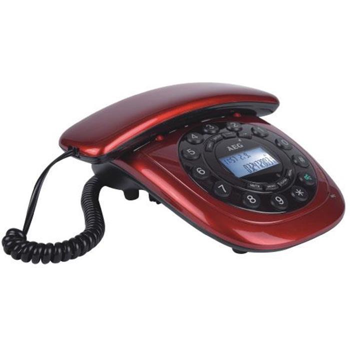 Ενσύρματο Τηλέφωνο Aeg C12 Κόκκινο hlektrikes syskeyes texnologia stauerh thlefonia thlefona