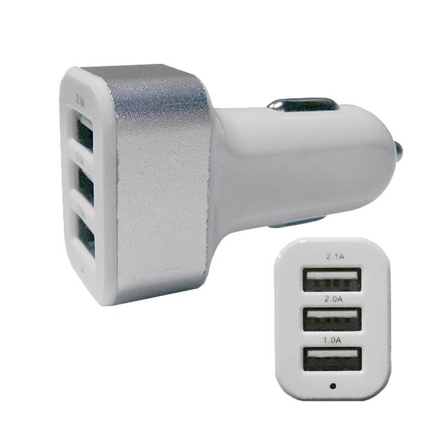 Φορτιστής Αναπτήρα Αυτοκινήτου 3 x USB Ασημί GloboStar 69990 ergaleia kataskeyes hlektrologikos ejoplismos trofodotika