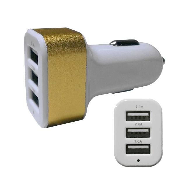 Φορτιστής Αναπτήρα Αυτοκινήτου 3 x USB Χρυσό GloboStar 69991 ergaleia kataskeyes hlektrologikos ejoplismos trofodotika