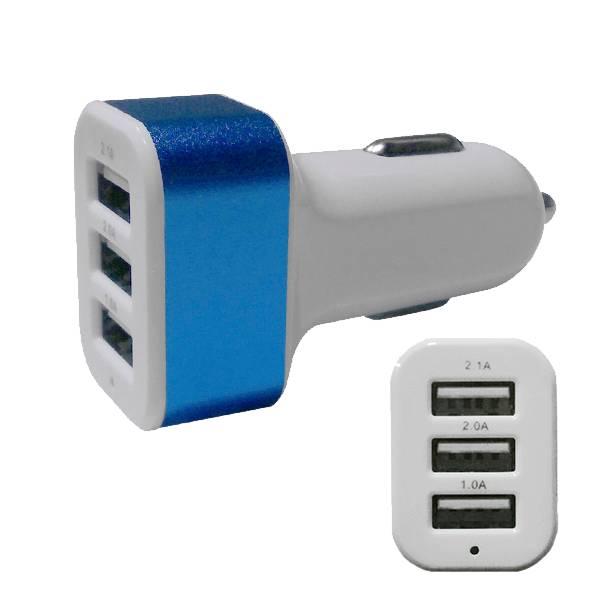Φορτιστής Αναπτήρα Αυτοκινήτου 3 x USB Μπλε GloboStar 69993 ergaleia kataskeyes hlektrologikos ejoplismos trofodotika